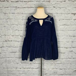 True Craft Blue Embroidered Open Long Blouse